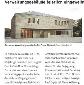 Naturstein berichtet über Verwaltungsgebäude